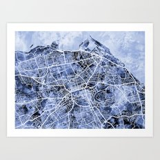 Edinburgh City Street Map Art Print