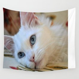 Portrait of A Blue Eyed Van Cat  Wall Tapestry