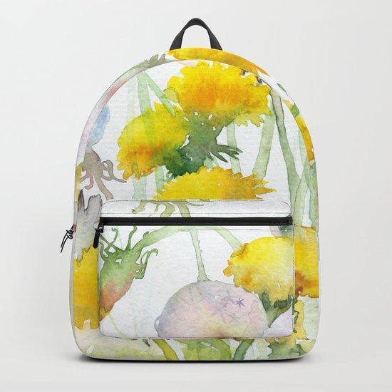 Watercolor yellow flowers dandelions Backpack