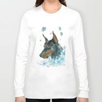 doberman Long Sleeve T-shirts featuring Blue Doberman by Parmelyn