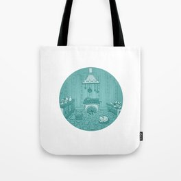 Cat in the kitchen Tote Bag