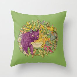 cat and green milk light Throw Pillow