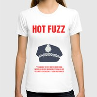 movie poster T-shirts featuring Hot Fuzz Movie Poster by FunnyFaceArt