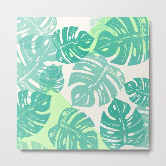 Linocut Monstera Green Metal Print