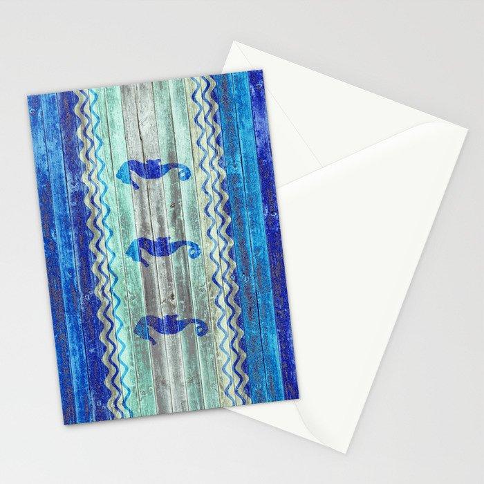 Rustic Navy Blue Coastal Decor Seahorses Stationery Cards