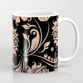 Rose-Gold & Black Floral Damasks Coffee Mug