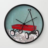 plain Wall Clocks featuring Wagon plain by Patty Haberman