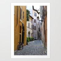 Cobblestone Road, Rome.  Art Print
