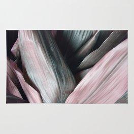 Pink Plant Leaves Rug