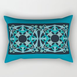 Support Love Mandala x 2 - Teal/Black Rectangular Pillow