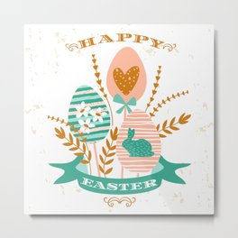 Happy Easter bouquet Gees bunnies and flowers Metal Print