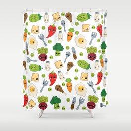 Cute Kawaii Food Pattern Shower Curtain