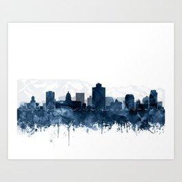 Salt Lake City Skyline Blue Watercolor Print by Zouzounio Art Art Print