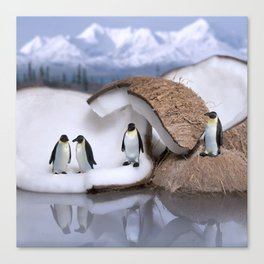 | Wild Food - Coconut and Penguins | Canvas Print