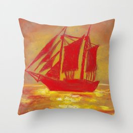 Red Sailboat in the sea At sunset Throw Pillow