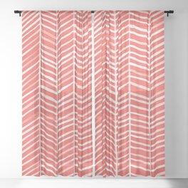 Coral Herringbone Sheer Curtain