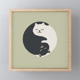 Hidden cat 26 yin yang hug Framed Mini Art Print