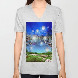 White lanterns with cherry blossom and mountain temple Unisex V-Neck