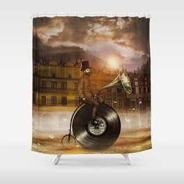 Music Man in the City, by Eric Fan and Viviana González Shower Curtain