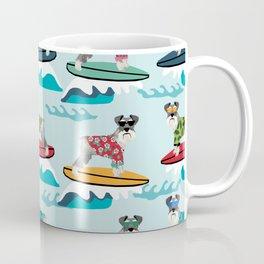 schnauzer surfing dog breed pattern Coffee Mug