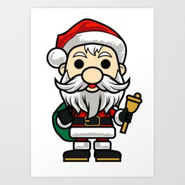 Bubblehead Santa CLAUS Children Kids Cartoon Art Print