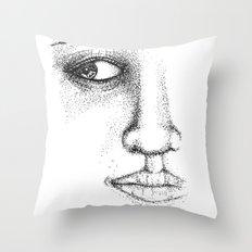 Fine Liner Stippling Girl 1 Throw Pillow