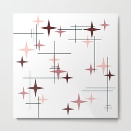 Mid Century Modern Stars (Pink) Metal Print
