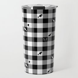 Black and White Checkered Animals Travel Mug