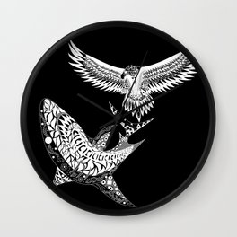 The shark and the eagle back in black Wall Clock