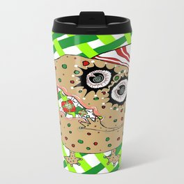 Christmas Fruitcake Monster, green lattice background Travel Mug