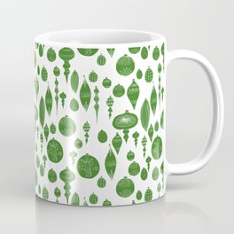 Vintage Christmas Ornaments in Green on White Coffee Mug