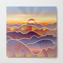 Golden Sunset Over Rolling Hills And Mountains Metal Print