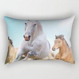 Horses Go Ahead Rectangular Pillow