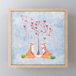 Fox love- foxes animal nature _ Watercolor illustration Framed Mini Art Print