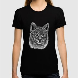 Lynx kitten - wild cat - ink illustration T-shirt