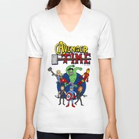 avenger V-neck T-shirts featuring Avenger Time by MattHercock