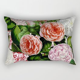 Vintage & Shabby Chic Green Large Dark Floral Camellia  Flowers Watercolor Pattern Rectangular Pillow