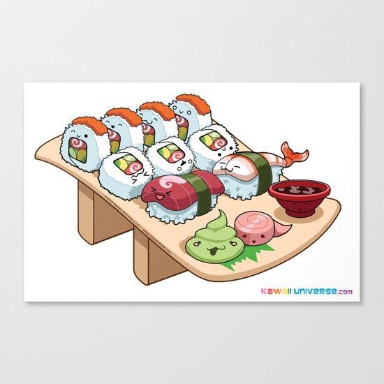 Kawaii California Roll and Sushi Shrimp and Tuna Nigiri Canvas Print
