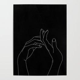 Hands line drawing illustration - Abi black Poster