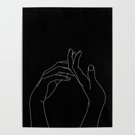 Hands line drawing illustration - Abi black Poster