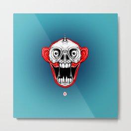 Unicorn Monkey Skull Metal Print