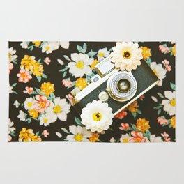 Floral Vintage Camera (Color) Rug