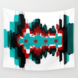 Chicago Flag Skyline Wall Tapestry