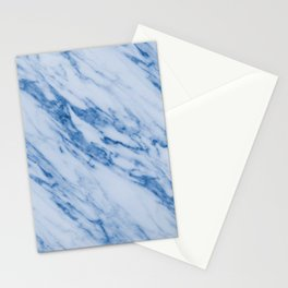 Azure Blue Marble on Marshmallow Cream Stationery Cards