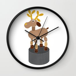 PUSH UP DEER, toy print Wall Clock