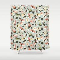 novelty Shower Curtains featuring Yummy Sushi! by Eine Kleine Design Studio