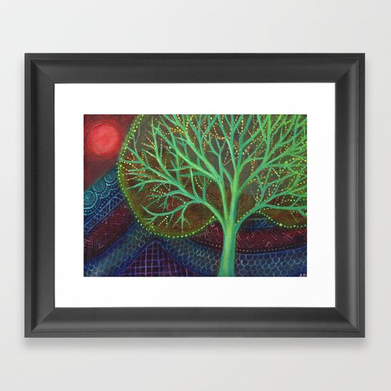 Green Tree and Red Moon Framed Art Print