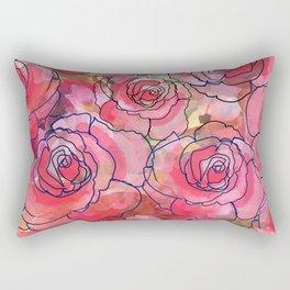 Red Watercolor Roses Rectangular Pillow