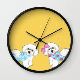 Bichon Frise Holidays yellow cute dogs, Christmas gift, holiday gift, birthday gift, dog, Bijon Wall Clock