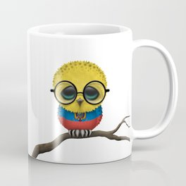 Baby Owl with Glasses and Ecuadorian Flag Coffee Mug
